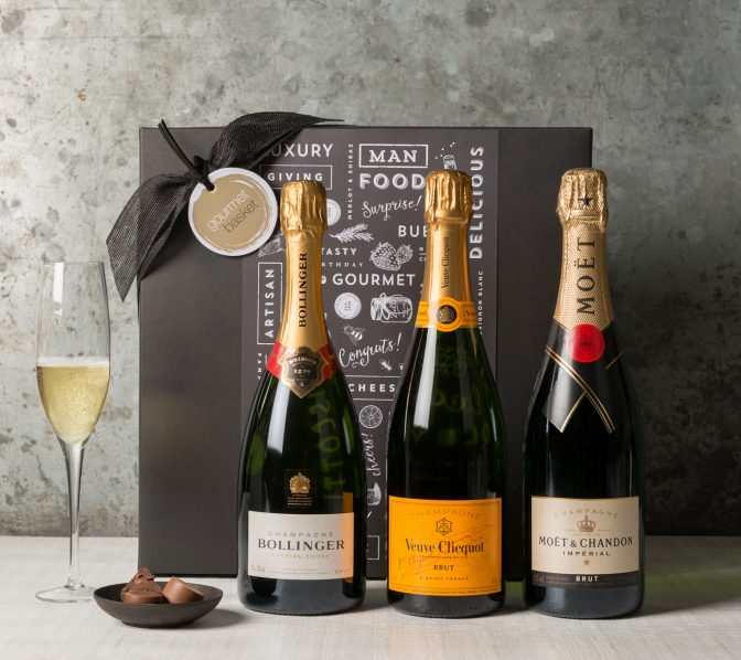 Champagne Trio | Wine & Champagne Gift Hampers | Gourmet Basket