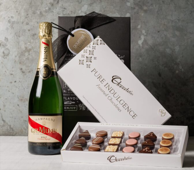Mumm champagne and chocolate. Gift Hampers from Gourmet Basket. Champagne and Chocolate gift delivery.