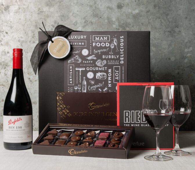 Say congratulations with red wine Gift hamepers for men from Gourmet Basket