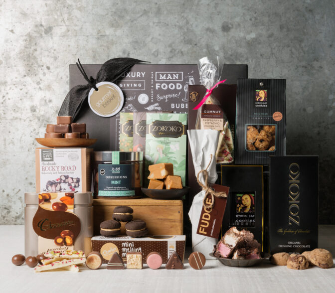 Champagne and chocolates. Gourmet gift hamper from Gourmet Basket