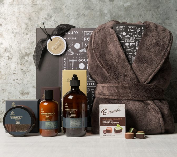 Men's Pamper Gift Hamper with Urban Rituelle skincare and a Microplush Chocolate coloured Bathrobe