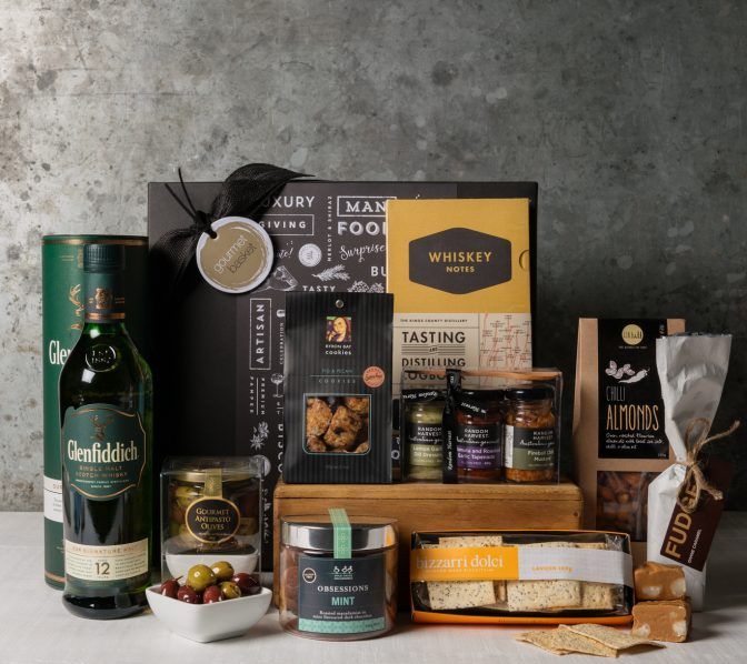 Gift Hampers from Gourmet Basket. Sophisticated hamper. Whisky gift delivery.